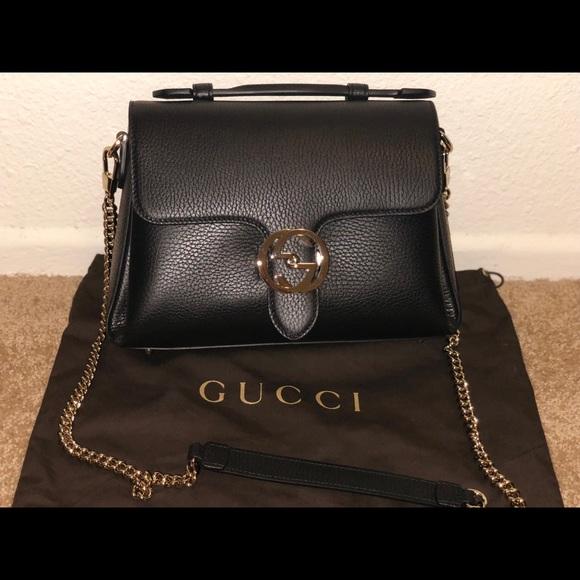 d18e99dc3f0750 Gucci Bags | Classic Black Calf Leather Shoulder Bag | Poshmark